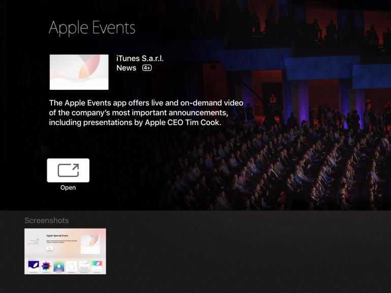 Apple hat einen Event-Kanal für Apple TV 4 gestartet
