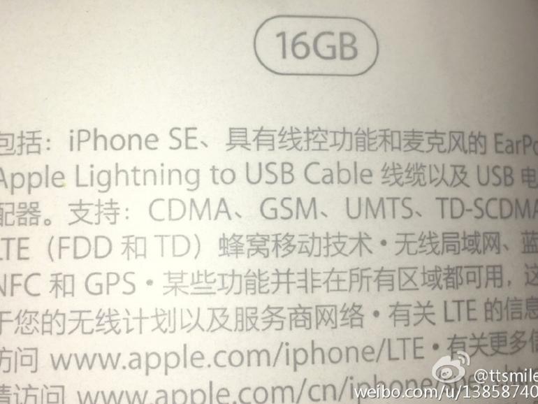 Foto des angeblichen iPhone SE-Verpackungsaufklebers