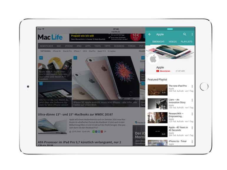 Endlich: YouTube-App für iPad unterstützt Split View und Slide Over