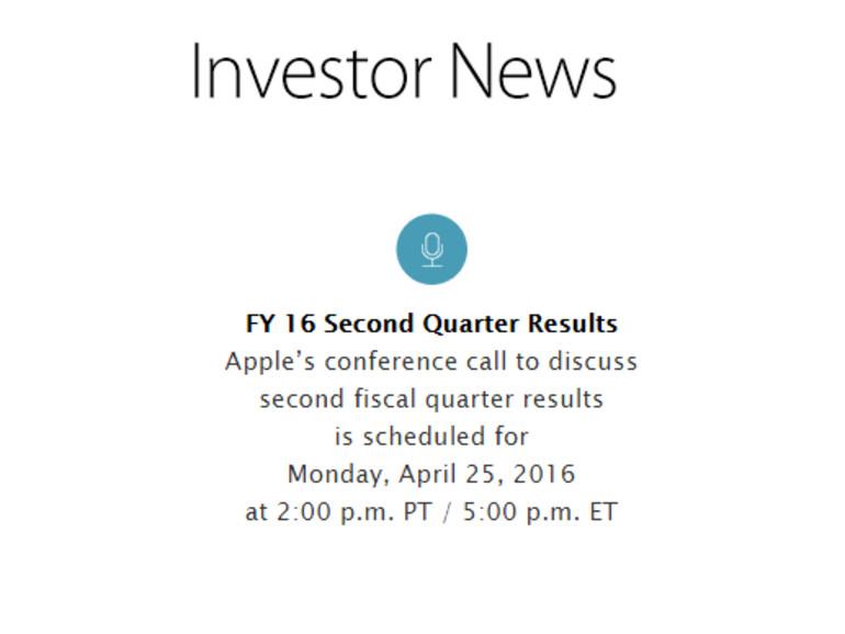 Die Ankündigung erfolgte über die Investor-Webseite Apples