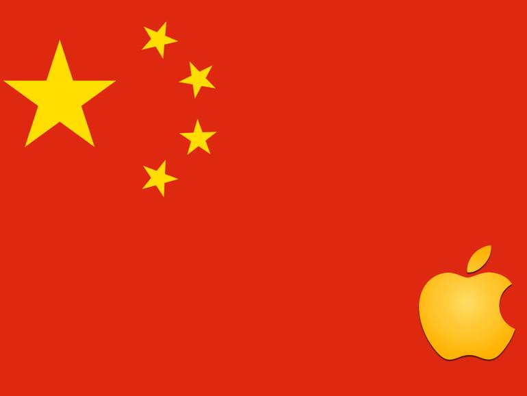 Montage: Chinesische Flagge mit Apple-Logo