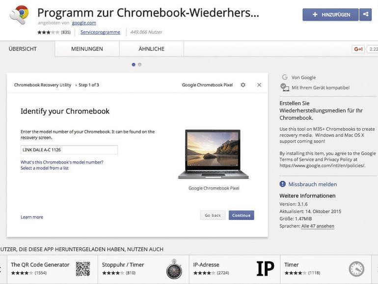 """Klingt fast so sexy wie Festplattendienstprogramm: Googles """"Programm zur Chromebook-Wiederherstellung"""" dient als Erweiterung für den Webbrowser Chrome und zur Erschaffung eines CloudReady-Startlaufwerks."""