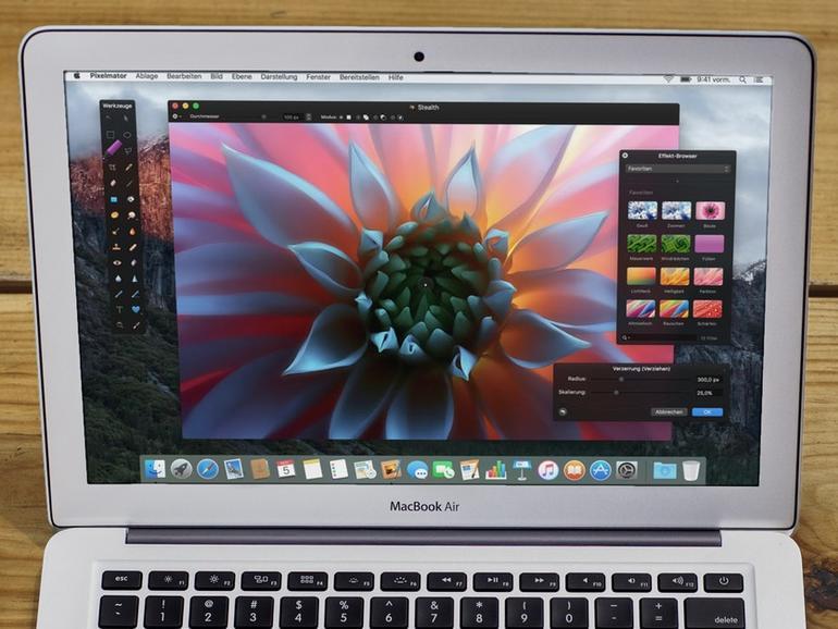 Montage: Pixelmator auf MacBook Air.