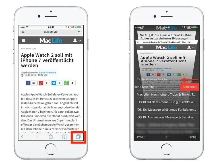 Safari Tabs Uber ICloud Schliessen