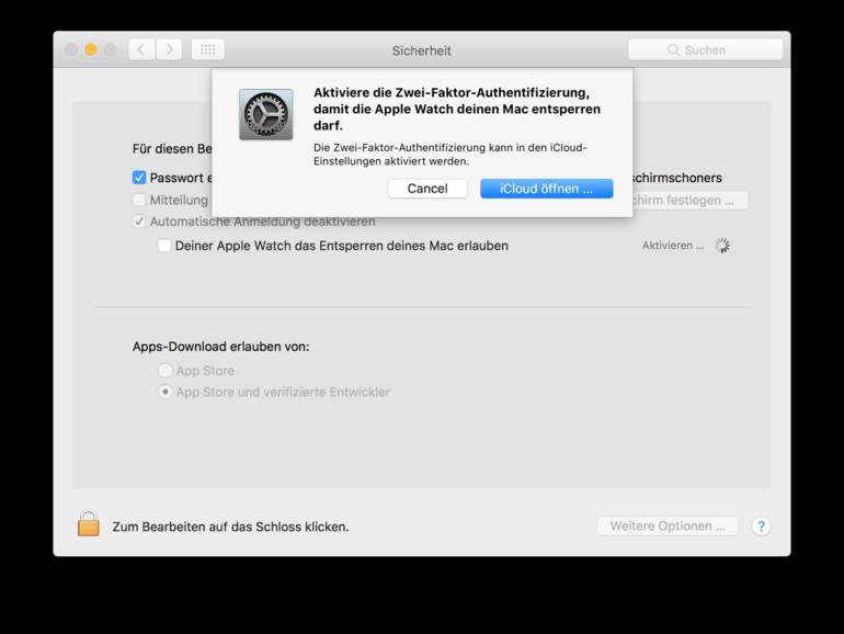 Screenshot aus macOS Sierra zeigt die Warnung, dass die Zwei-Faktor-Authentifizierung eingeschaltet sein muss, um Auto Unlock mit der Apple Watch nutzen zu können.
