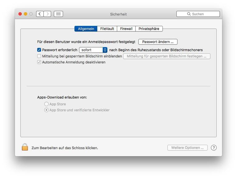 """Systemeinstellungen zur """"Sicherheit"""" in macOS Sierra. So sieht der Dialog aus, wenn man Auto Unlock mit der Apple Watch nicht nutzen kann, weil der Mac nicht kompatibel ist."""