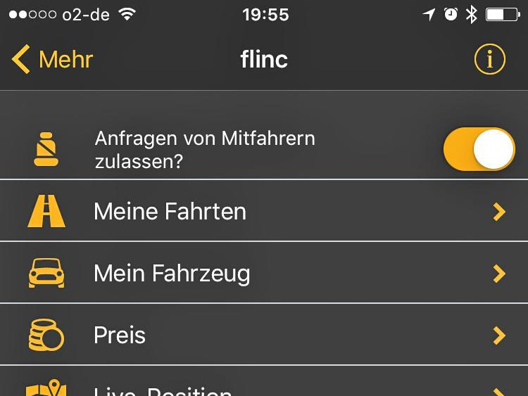 So lässt sich Flinc direkt vom Navi aus konfigurieren.