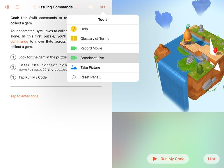 Swift Playground mit Möglichkeit zur Liveübertragung
