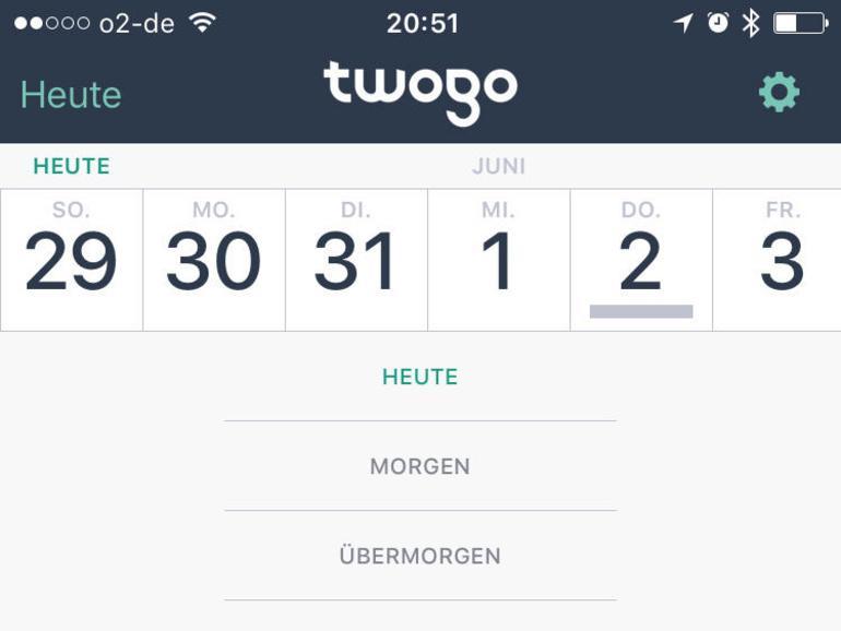 In der App von TwoGo regiert Sachlichkeit. Sie beschränkt sich optisch und funktional auf das Wesentliche. Alle Fahrten werden in einer kalenderartigen Liste gesammelt.