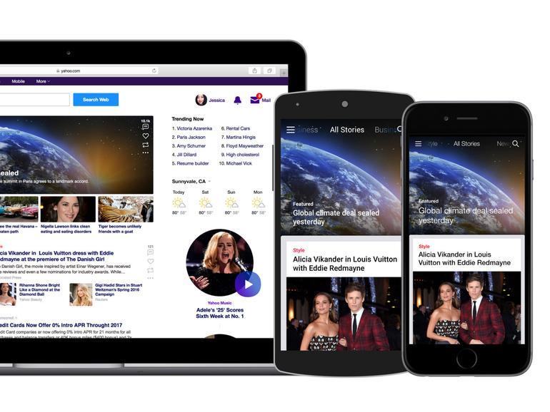 Webseite auf MacBook, Android-Smartphone und iPhone