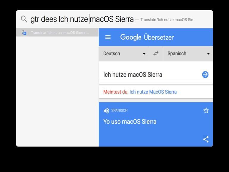Screenshot zeigt Flashlight mit Google-Translate-Plug-in im Einsatz