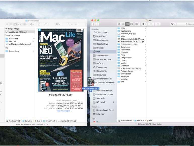 Dateien zwischen zwei Fenstern verschieben