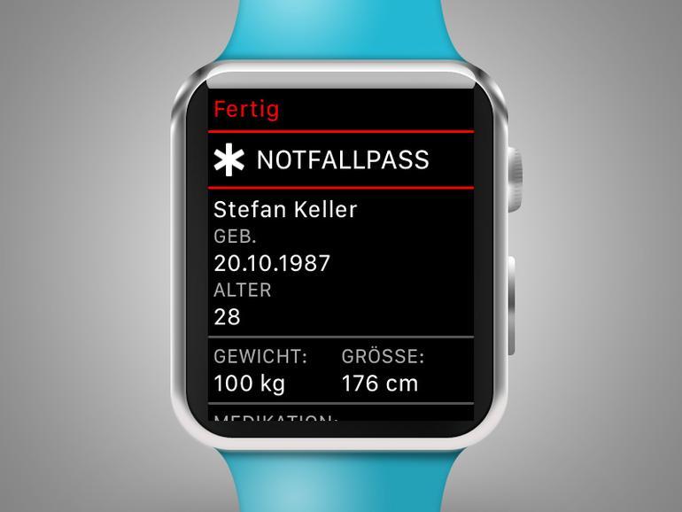 watchOS 3: Notfallpass zeigt unter Umständen wichtige Informationen über Sie.