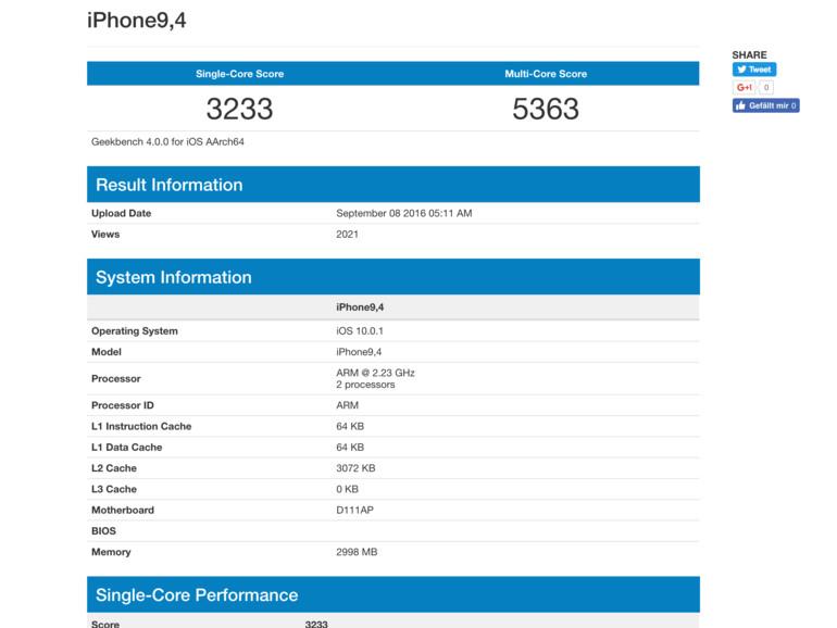 Geekbench 4 Ergebnis von iPhone 7 Plus