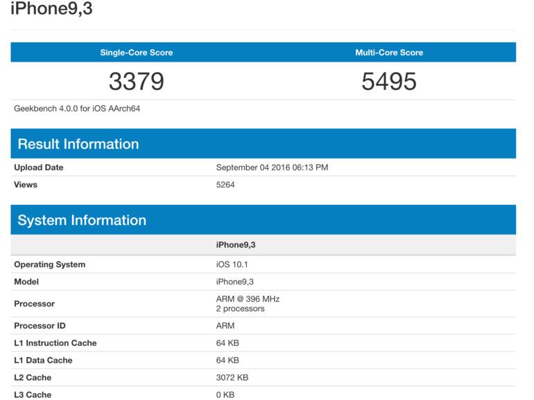 Screenshot des iPhone 7 Benchmark aus der Datenbank von PrimateLabs
