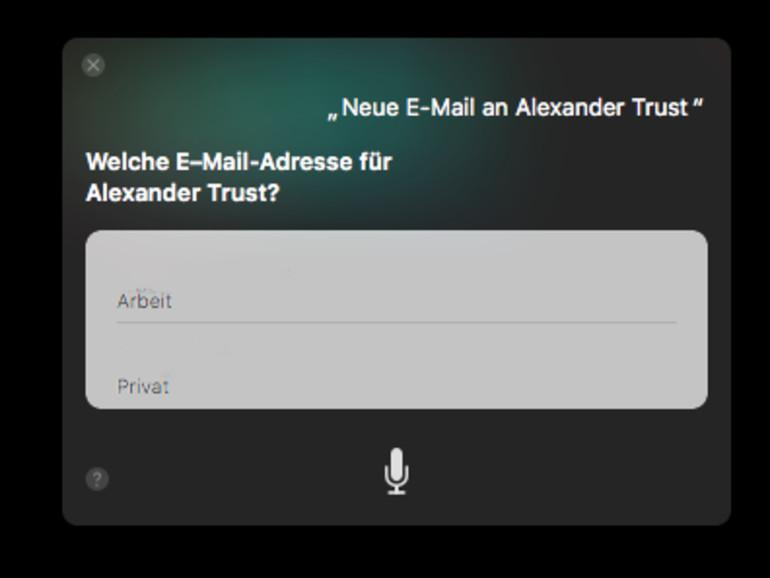Siri erkundigt sich, welche E-Mail zu einem Kontakt gewählt werden soll.