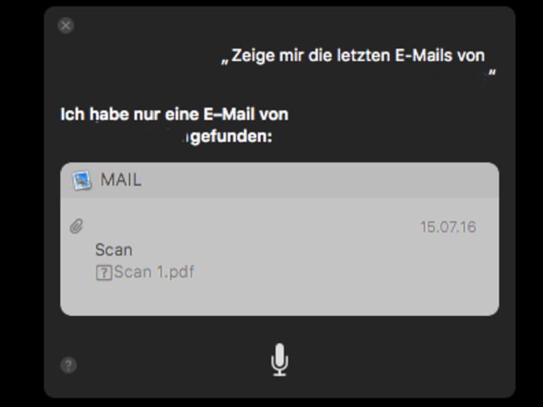 Siri zeigt die letzten E-Mails von X an.