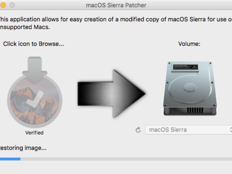 macOS Sierra Patcher beim Wiederherstellen des Installationsarchivs auf dem USB-Stick