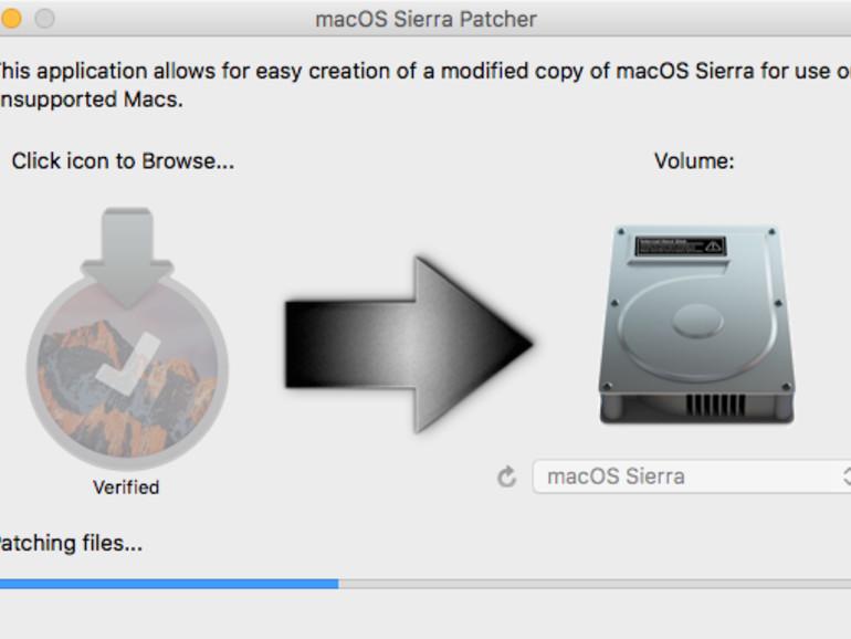 macOS Sierra Patcher beim Patchen der Dateien auf dem USB-Stick