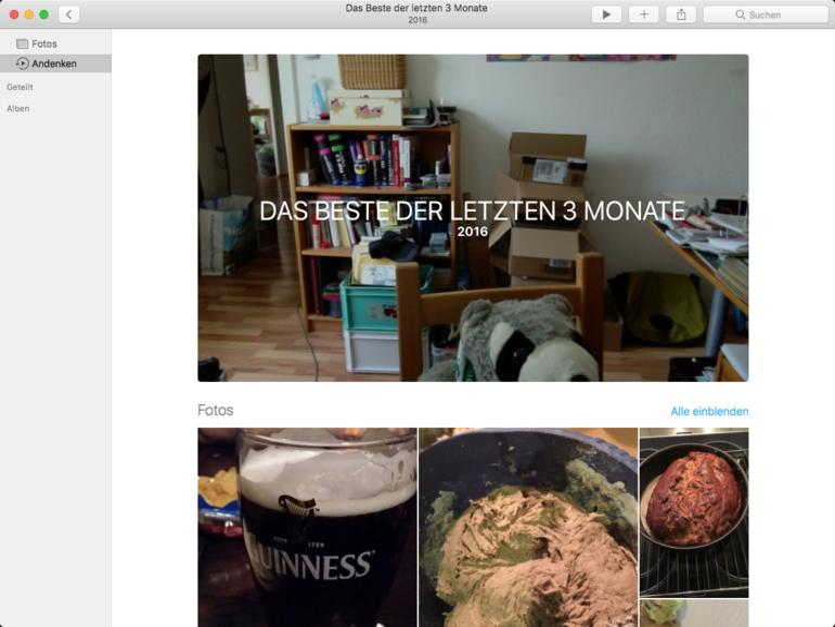 Automatisch generierte Andenken in Fotos-App