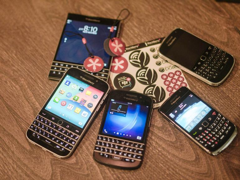Verschiedene BlackBerry-Smartphones