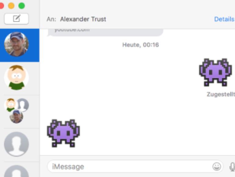 Nachrichten-Fenster mit riesigen Emoji