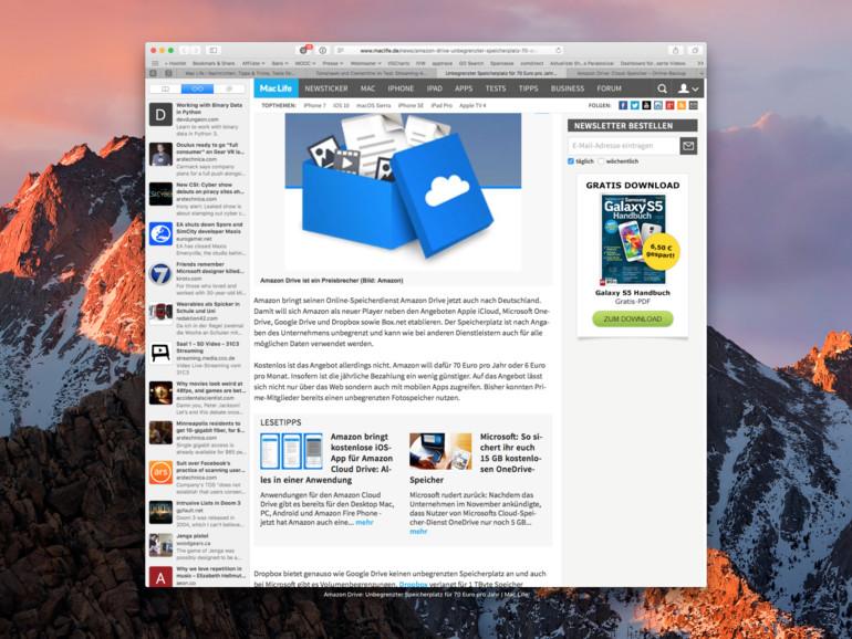 Safari 10 in macOS Sierra
