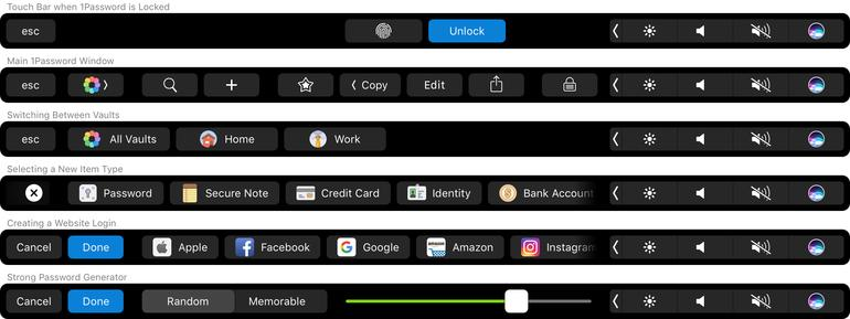 1Password Touch Bar, Entwurf