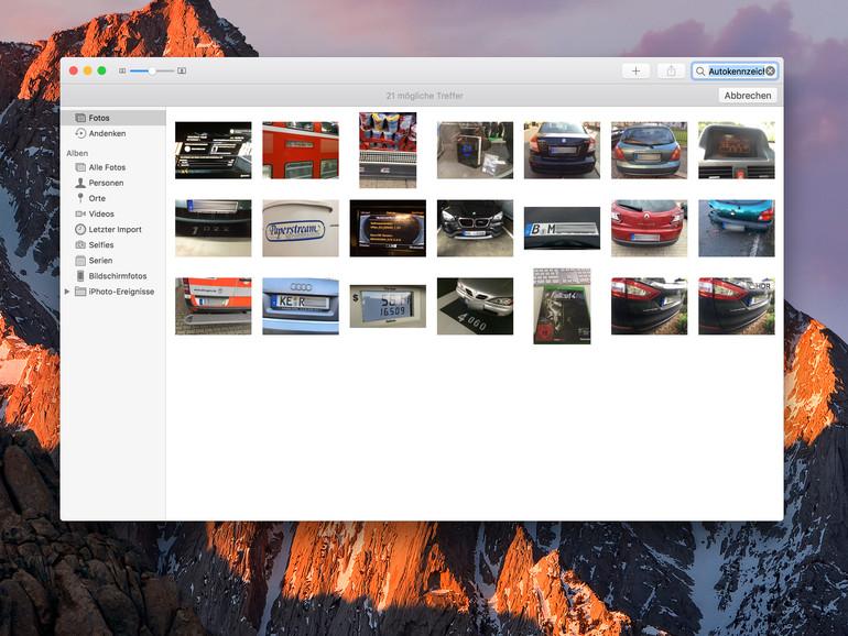 Fotos-App in macOS Sierra erkennt viele Gegenstände, beispielsweise Autokennzeichen. Manchmal liegt die Erkennung aber auch daneben.