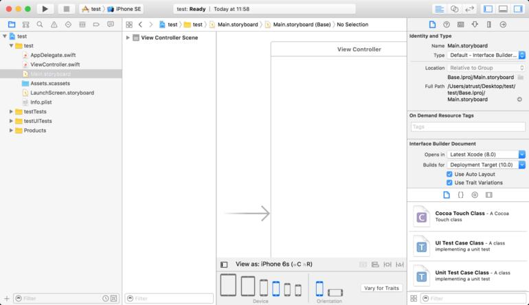 Interface Builder in Xcode 8