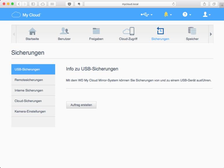 Datensicherungen der My-Cloud sind zum Beispiel auf großen USB-Festplatten möglich