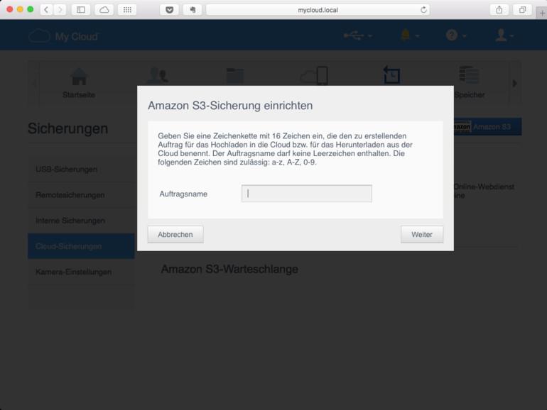 Mittels Access-Token von Amazon wird die S3-Sicherung bei Amazon eingerichtet