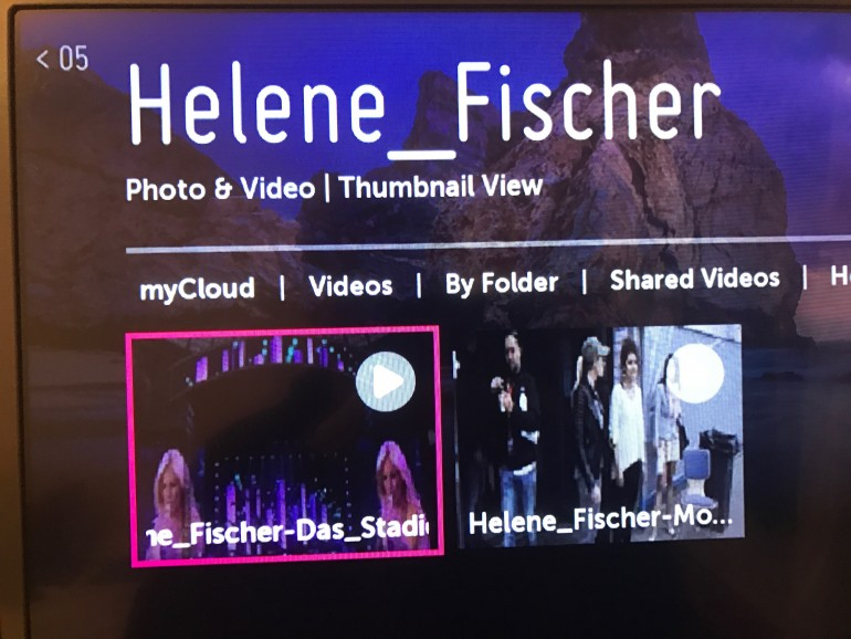 Das gespeicherte Konzert von Helene Fischer wird vom NAS als Stream empfangen