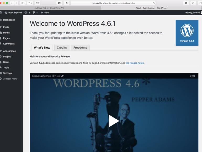 Die Installation sieht vollwertig aus. Ein Update auf Wordpress 4.6.1 gelingt anstandslos