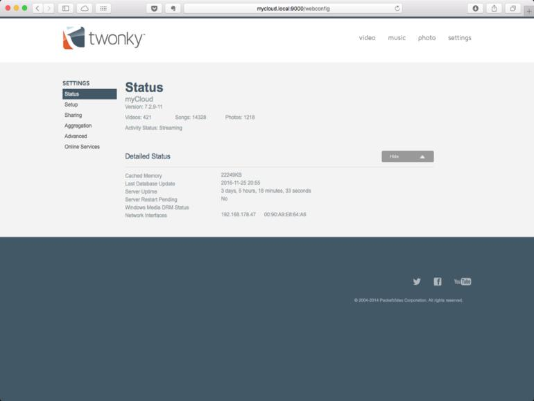 Für das Sharing von Medien-Inhalten läuft auf WD My Cloud Mirror die Anwendung Twonky als DNLA-Server