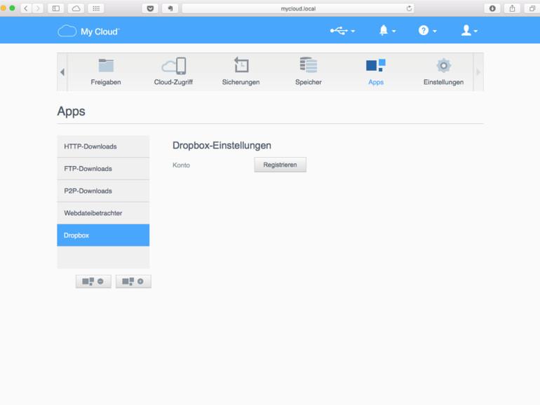 """Nach einem Klick auf die Schaltfläche """"Registrieren"""" erfolgt die Berechtigung für Dropbox"""