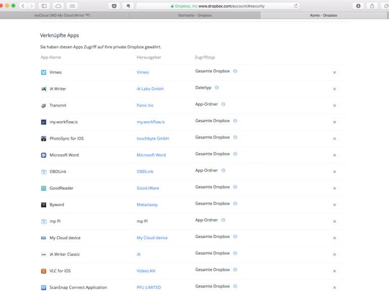 Bei dropbox.com erscheint WD My Cloud Mirror als verknüpfte App mit vollem Zugriff auf Dropbox