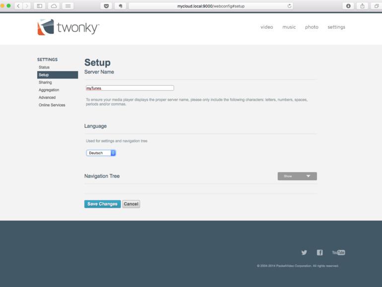 Das Interface von Twonky ist intern erreichbar auf Port 9000. Die URL sieht dann so aus mycloud.local:9000