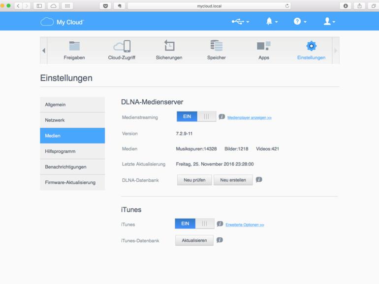 Dazu gehören auch die Einstellungen im Bereich Einstellungen und Medien im Admin-Browser auf dem WD-NAS