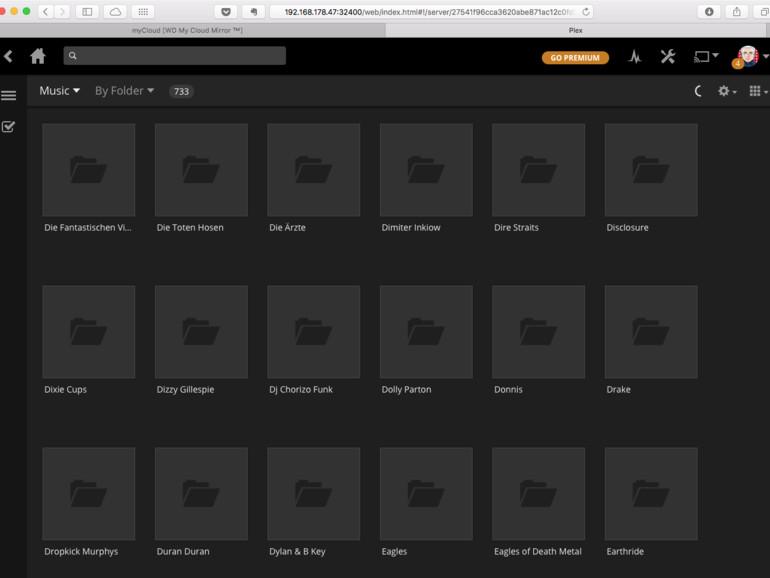 So sieht die Musik-Mediathek bei Plex Media Server aus