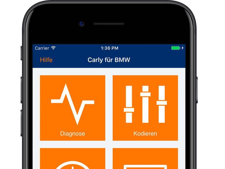 Carly-App-Oberfläche auf dem iPhone