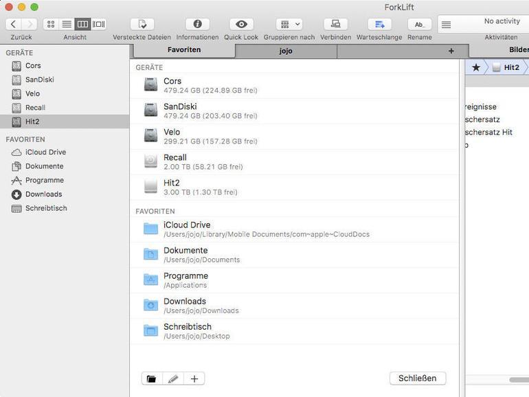 Screenshot aus ForkLift
