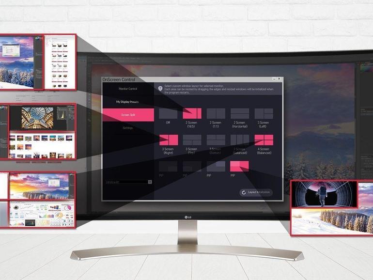 Mit der OnScreen-Control-Software wählen Sie zwischen 14 Split-Screens. Eigene Presets lassen sich speichern und automatisch mit einer Anwendung laden.