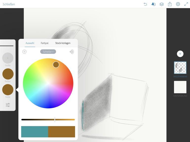 Großer Vorteil: Sie haben immer alle möglichen Stifte, Pinsel und Farben, die Sie wünschen, dabei.