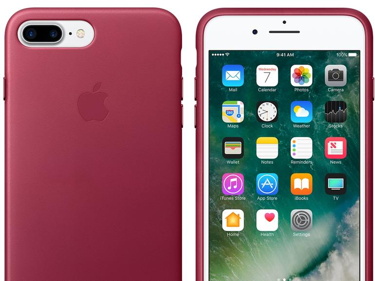 Lederschutzhülle für iPhone 7 Plus in Beere
