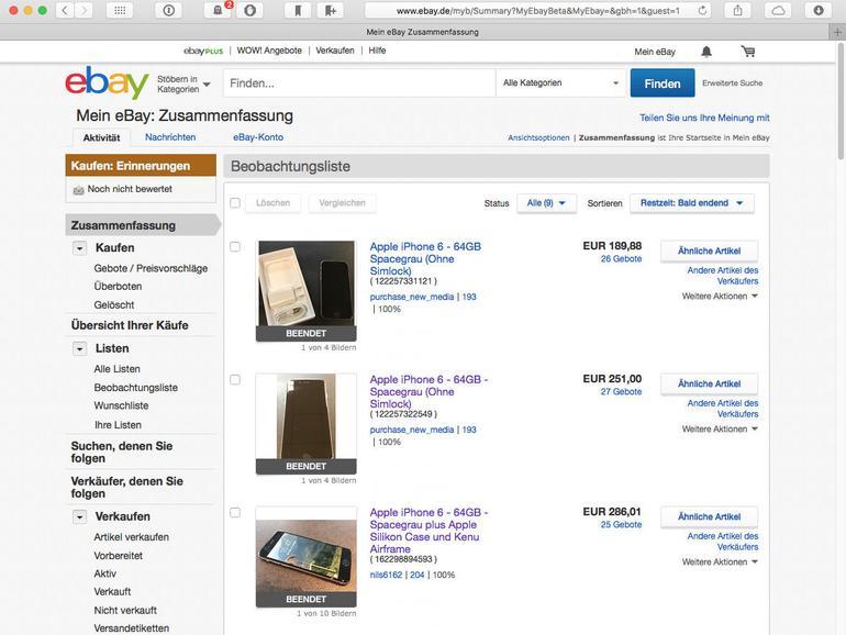 Beobachten Sie vergleichbare Geräte auf Ebay, können Sie den aktuellen Gebrauchtpreis ermitteln.
