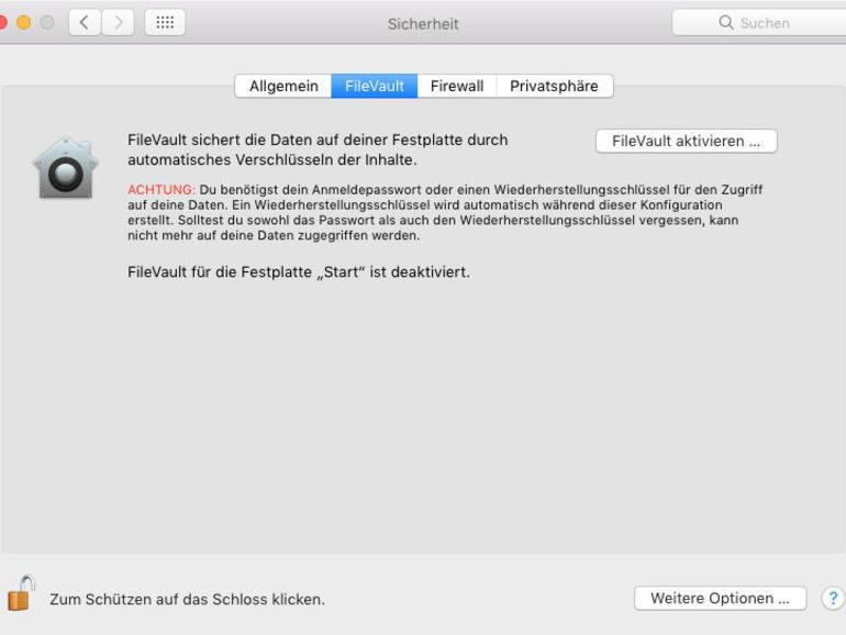 Systemeinstellungen > Sicherheit > Filevault