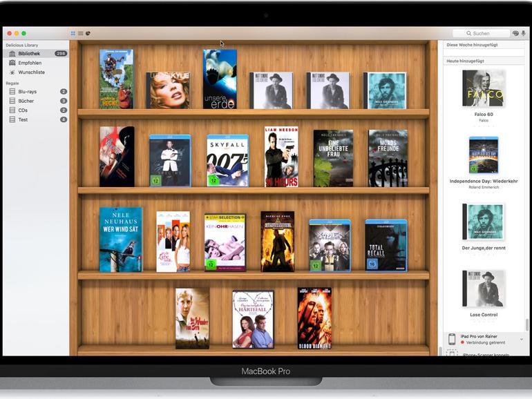 Delicious Library stellt die Medien in einem Regal aus, bietet dafür aber keine brauchbaren Sortiermöglichkeiten.