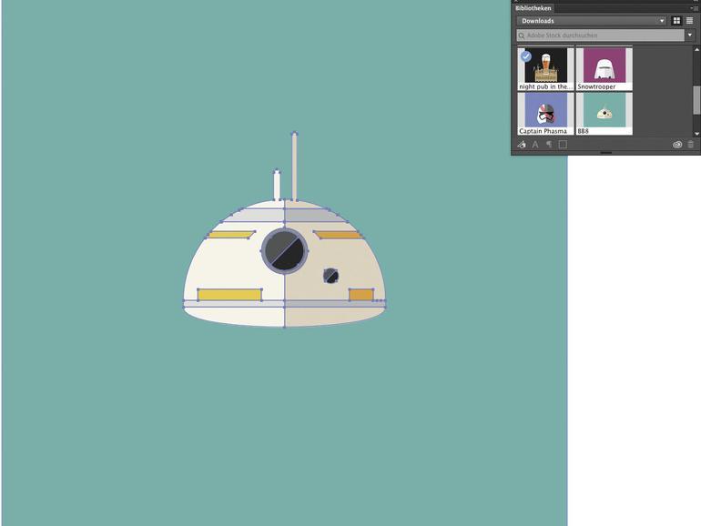 Bei Adobe Stock erworbene Bilder und Grafiken finden sich ebenfalls in einer Palette und können komfortabel eingesetzt werden.