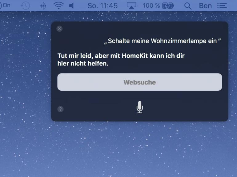 Keine HomeKit-Unterstützung am Mac